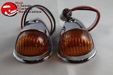 Guide Style Headlight Chrome LED Turn Signal Marker Lights Housings Amber 1157