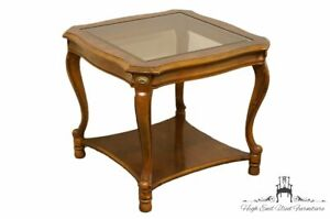 """GORDON'S FURNITURE Country French Regency Glass Topped 24"""" Square End Table"""
