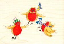 Saltar Robins-sello de goma montado madera-Personal Impressions