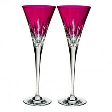 Waterford Lismore Pops Hot Pink Toasting Flute Pair #40019535 Brand New
