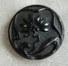 """Antique Art Nouveau Glass Picture Button Flower ~Aprx:7/8""""~#336-F"""