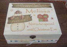 shabby vintage chic wooden personalised christmas Treat box keepsakes rustic