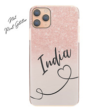 Personalised Initial Phone Case, Heart and Name Pink Pattern Print Hard Cover