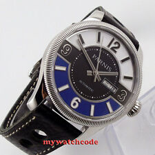 42mm Parnis white black blue dial Sapphire Glass miyota Automatic mens Watch 411