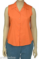NEW Silhouettes Womans Orange V-Neck Sleeveless Button-up Top Size 3X (22W-24W)