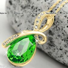 Gold Necklace Peridot Green Crystal Presents for Her Women Girls Mum Wife GF G7
