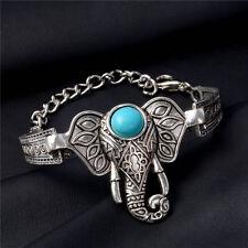 New Fashion Bracelet Women Charm Turquoise Bracelet Stone Silver Elephent Head