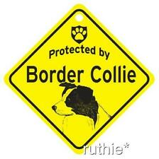 Protected by Border Collie Dog Window Sign Made in Usa
