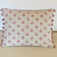 "NEW Kate Forman Agatha Pink Linen Fabric 17""X13"" Pom Pom  or Piped Cushion Cover"