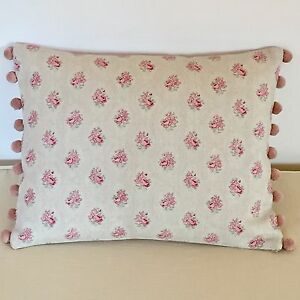 """NEW Kate Forman Agatha Pink Linen Fabric 17""""X13"""" Pom Pom  or Piped Cushion Cover"""