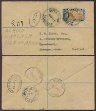 BAHAMAS to SCOTLAND REDIRECTED ISLE of ARRAN REGISTERED OVAL BRODICK 2s FRANKING