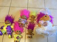 Lot of 6 Russ TNT Troll Doll Figurines Plush (CLO)