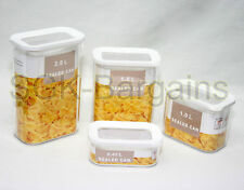 4Pc Plastic Kitchen Food Pasta Cereal Grain Bean Rice Storage Container Box Set