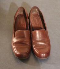 """Croft & Barrow """"Chantal"""" Women Leather Brown  Loafers 2"""" Heels size 7.5W Slip On"""