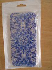 "iPhone 6 & 6s CASE COVER 4.7""-gel bumper-blue marble design,fake rhinestones"