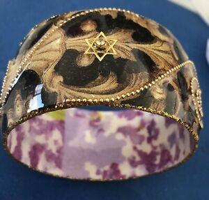 Iris Designs Cold Enamel Bangle Paisley Design Jewish Star Gemstone Brown & Gold