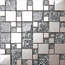 Metallic Random Mix Polished Steel Silver Glass Mosaic Tiles Bathroom  (MT0132)