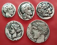 Lot Of 5 Ancient Greek Coins , Athena ,Alexander The Great ,Athena ,Persephone
