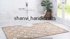 Hand Braided Jute & Cotton Rug Area Rug Hand Woven Reversible Rectangle 5x8 Feet