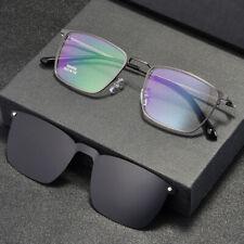 Mens Magnetic Polarized Clip-on Sunglasses Eyeglass Frames Glasses Rectangle Rx