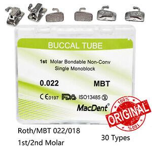 MacDent 20 Set Dental Orthodontic Buccal Tubes 1st 0.022 MBT Monoblock Bondable