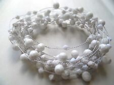 5 METRE WHITE BEADED GARLAND /WEDDING/DECORATION/WIRED/candlesticks /christmas