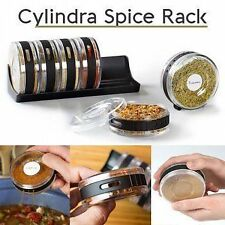 SPICE RACK SET OF 6 CYLINDRA ROTARY SEASONING BOX IN BLACK COLOR