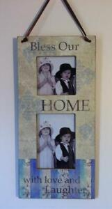 GORGEOUS PHOTO FRAME BLESS OUR WITH LOVE & LAUGHTER HOLDS 2 PHOTOS  NEW