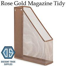 Rose Gold Copper Metal Wire Desk Organiser Office File Storage Magazine Holder
