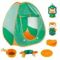 Childrens Pop Up Tent & Camping Role Play Set, Lamp, Stove & Tools Garden Game