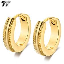 Vintage TT 14K Gold GP Narrow Stainless Steel Hoop Earrings (EH111J) NEW
