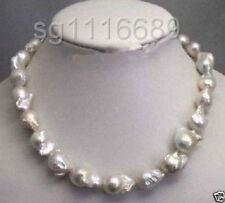 "Rare fine Large 15-23mm White Unusual Baroque Pearl Necklace disc Clasp 18 """