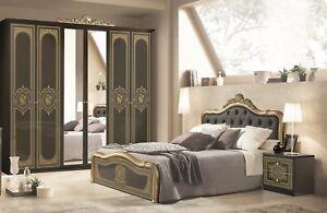 Schlafzimmer Alice in schwarz Gold Barock 160x200cm 4tlg Komplett sclafzimmer