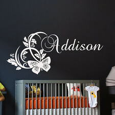Wall Decals Personalized Name Vinyl Stickers Butterfly Girl Nursery Art LM80