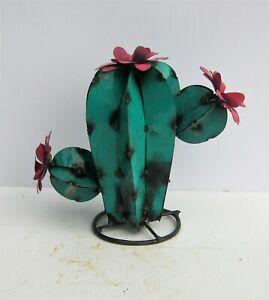 "METAL YARD ART CHUBBY SAGUARO CACTUS W FLOWERS SCULPTURE TEAL 9"""