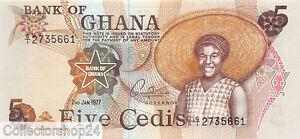 Ghana 5 Cedis 1977 Unc Pn 15c