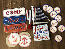 MILITARY Navy Nautical Patriotic PARTY DECORATIONS SUPPLIES LOT Coasters Sign