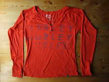 Hurley Casual Shirt Womens 100% Cotton Orange Red Long Sleeved
