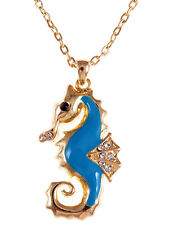 Gold Clear Rhinestone Crystal Blue Enamel Sea Horse Pendant Chain Necklace