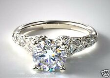 1.75ct Round Cut Pave Forever Diamond Engagement Ring 14k Solid White Gold