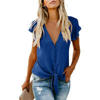 Women V Neck Chiffon T-Shirt Tie Front Tee Top Casual Short Sleeve Blouse Summer