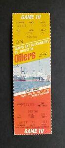Tampa Bay Buccaneers vs Houston Oilers 1983 Unused Football Ticket E. Cambell Td