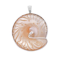 HUGE Bali RARE Carved SHELL Pendant in Sterling Silver 925 - 6.8 CM