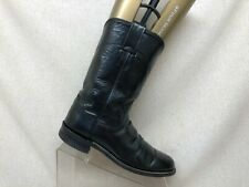 Justin Roper Black Leather Cowboy Western Boots Womens Size 7.5 AA Style L3703