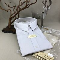 HENNESSY II Vintage Fitted Button Down Shirt 17 34/35 NOS Blue stripe