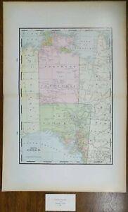 "Vintage 1900 SOUTH AUSTRALIA Map 14""x22"" ~ Old Antique Original ADELAIDE"