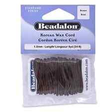 Beadalon Korean Wax Cord 1.0mm Brown 8 Yards