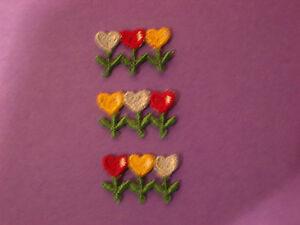 CLUSTER TULIP HEART FLOWERS EMBROIDERY APPLIQUE PATCH EMBLEM LOT (12 DOZEN)