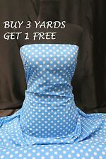 Cotton Print Turquoise Pea Size White Polka Dot Dress Crafts Fabric Material