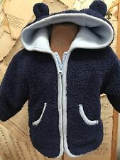 Baby Gap NAVY BLUE MINKEE Fleece Jacket TEDDY BEAR EARS HOOD 3-6 month COZY WARM